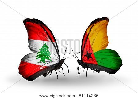 Two Butterflies With Flags On Wings As Symbol Of Relations Lebanon And Guinea Bissau