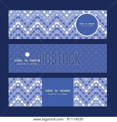 Vector purple drops chevron horizontal banners set pattern background