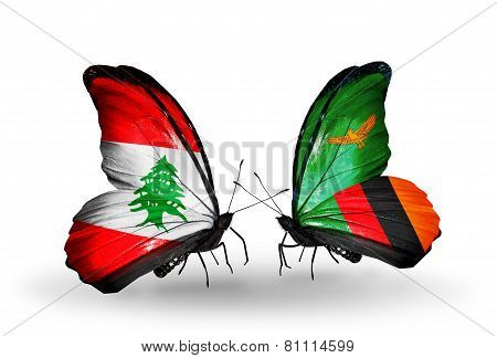 Two Butterflies With Flags On Wings As Symbol Of Relations Lebanon And Zambia