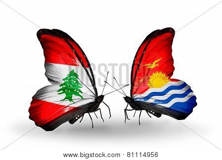 Two Butterflies With Flags On Wings As Symbol Of Relations Lebanon And Kiribati