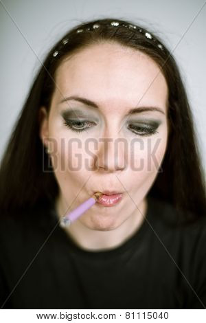 portrait of a real female smoker