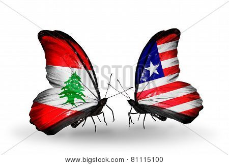 Two Butterflies With Flags On Wings As Symbol Of Relations Lebanon And Liberia
