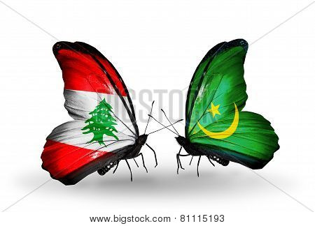 Two Butterflies With Flags On Wings As Symbol Of Relations Lebanon And Mauritania