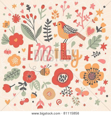Bright card with beautiful name Emily in poppy flowers, bees and butterflies. Awesome female name design in bright colors. Tremendous vector background for fabulous designs