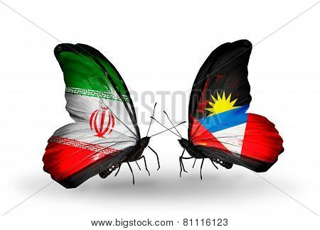 Two Butterflies With Flags On Wings As Symbol Of Relations Iran And Antigua And Barbuda