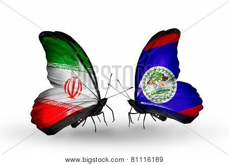 Two Butterflies With Flags On Wings As Symbol Of Relations Iran And  Belize