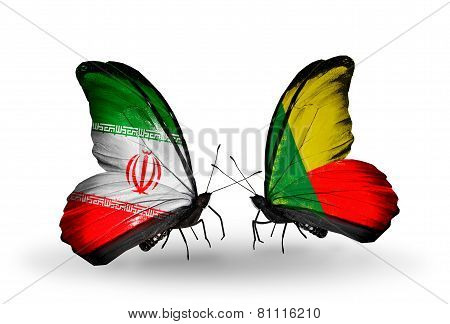 Two Butterflies With Flags On Wings As Symbol Of Relations Iran And Benin