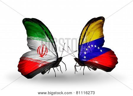 Two Butterflies With Flags On Wings As Symbol Of Relations Iran And Venezuela