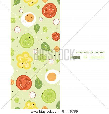 Vector fresh salad vertical frame seamless pattern background