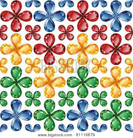 Jewelry Flowers Seamless Texture Vector