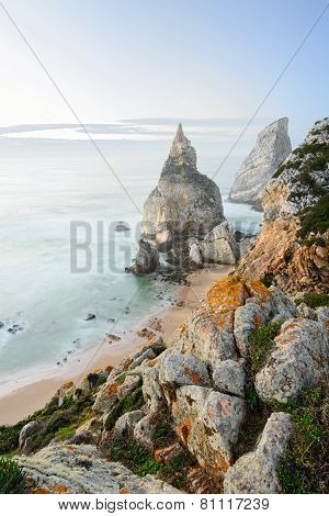 Beautiful beach with rocks in Portugal, Sintra, Cabo da Roca, Praia da Ursa