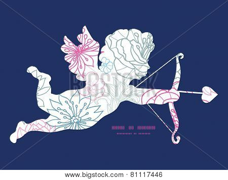 Vector gray and pink lineart florals shooting cupid silhouette frame pattern invitation greeting car