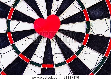 Red Heart In The Center Dartboard