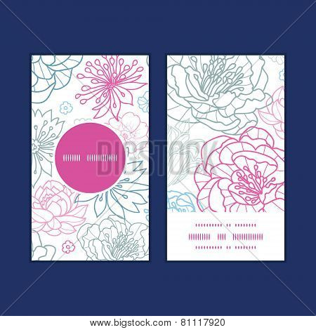 Vector gray and pink lineart florals vertical round frame pattern business cards set