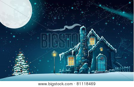 Illustration of Christmas night with a fabulous house and a Christmas tree