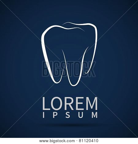 Tooth Icon Vector White Dental Illustration