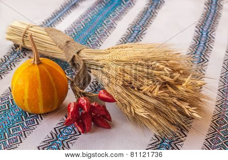 Sheaf Of Wheat, Pumpkin And Chili Peppers