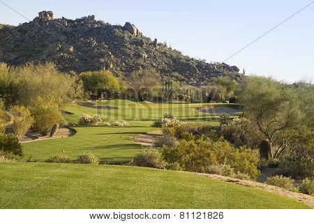 Fairway on Scottsdale desert golf course, Arizona,USA.