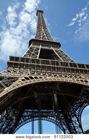 Detailed View Of The Eiffel Tower From Underneath.