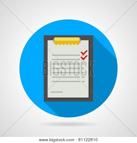 Flat vector icon for clipboard with form