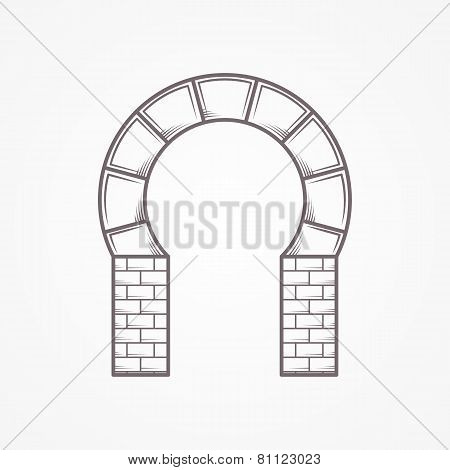 Flat vector icon for horseshoe arch
