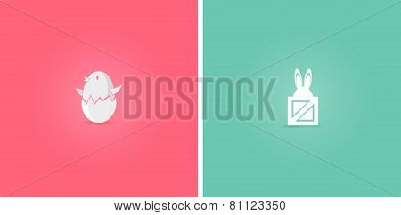 Easter chicken and rabit, bunny, flat design