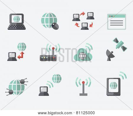 Internet icons, flat design