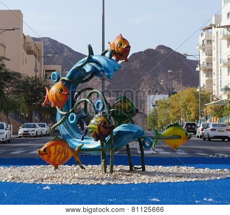 Sculpture of sea wave and fishes in Eilat, Israel