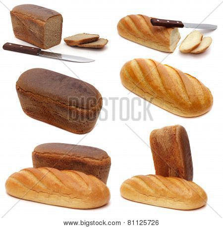 set of photos of fresh rye bread and wheat bread. Shooting in Studio. isolated on white background.