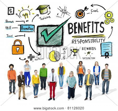 Benefits Gain Profit Earning Income People Diversity Concept