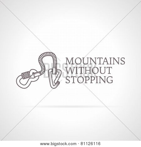 Vector illustration of climbing gear icon with text