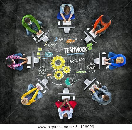 Teamwork Team Together Collaboration Computer Technology Online Concept