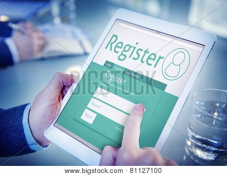 Register Membership Application Registration Join Office Browsing Concept