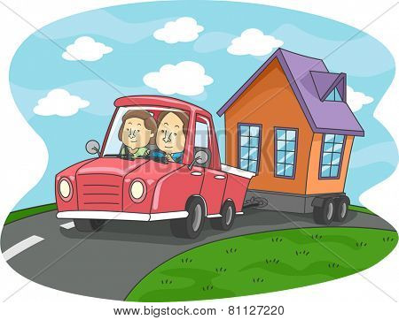 Illustration of a Couple Pulling a Mobile Home With Their Car