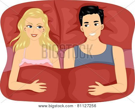 Illustration of a Couple Sharing a Large Bed with Matching Pillows and Sheets