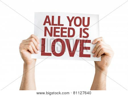 All You Need is Love card isolated on white background