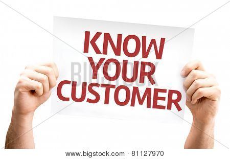 Know Your Customer card isolated on white background