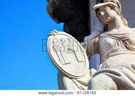 Goddess with emblem of Buda town, Budapest with copyspace, Hungary