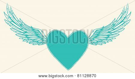 Vector illustration of winged heart