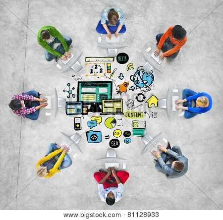 Diversity Casual People Responsive Design Computer Connection Concept