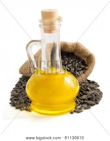 sunflower oil and seeds isolated on white background