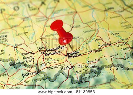 Krakow on a map