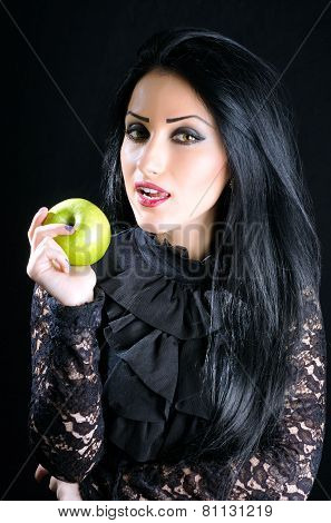 Attractive Woman Holding Green Apple