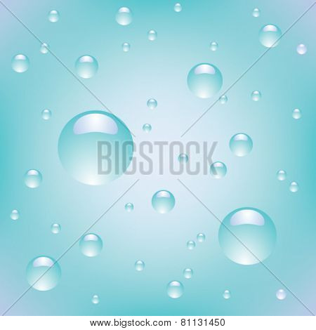 blue water droplets on glass