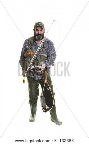 Smiling fly fisherman with a beard on a white background.