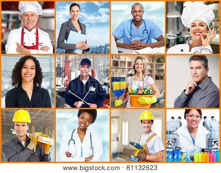 Group of professional Workers people collage background.