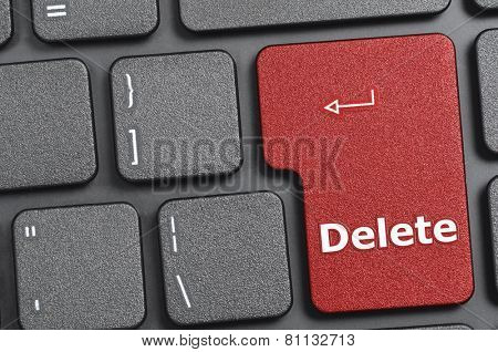 Red delete key on keyboard
