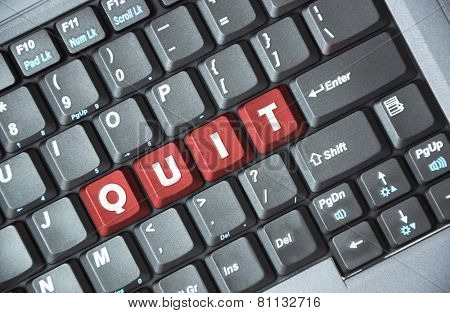 Red quit key on keyboard