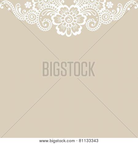 White flower corner, lace ornament. Vector illustration.