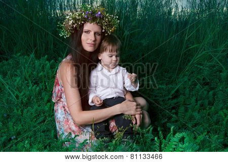 Mother and son enjoy beautiful summer day.